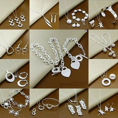 2017wholesale Gift fashion 925Silver Jewelry set Bracelet Necklace Ring Earrings