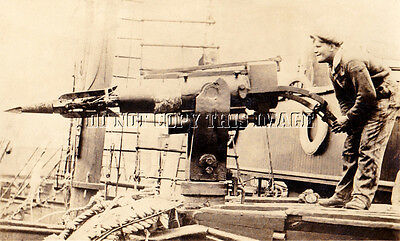 Antique Repro Photograph 1930's Whaling Harpoon Gunner > Very Cool