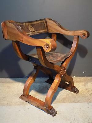 Italian Renaissance revival Savonarola wood carved chair leather seat lions 1820