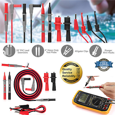 Fluke Multimeter Test Clips Leads Kit HEAVY DUTY Banana Tester Probe Set Of 8