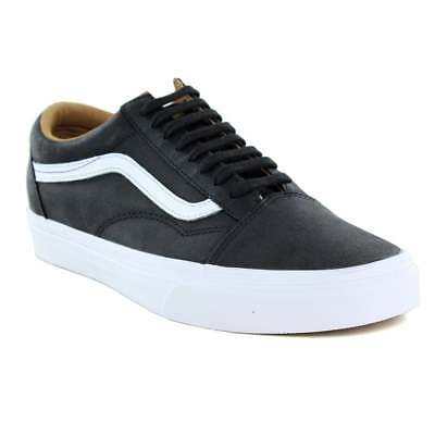Vans VN0A38G1II7 Old Skool Unisex Leather Skate Shoes - Black And White