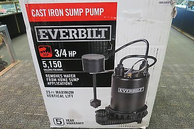 Everbilt 3/4Hp Cast Iron Sump Pump 1000 026 675 5150 Gallons/hr