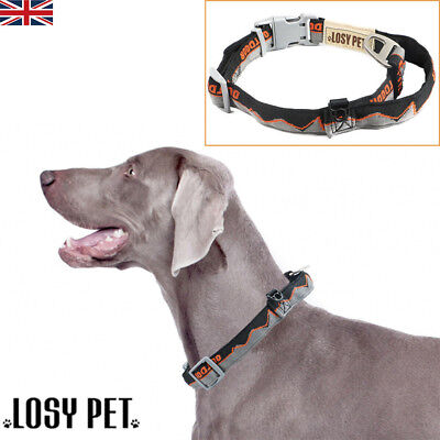 LOSY PET Dog Collar With Handle Strong Nylon Adjustable Padded High Quality L XL