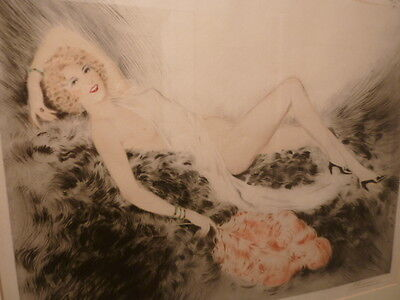 French Art Deco litho crayon drawing etching nude MEUNIER 1934 LOUIS ICART
