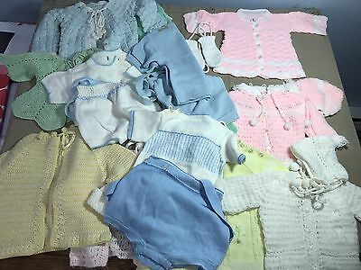Lot 20 Vtg  Baby Clothes Handmade Knitted Doll Sweater Pants Hat Bonnet Knit