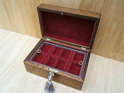 LOVELY 19c VICTORIAN ANTIQUE INLAID ROSEWOOD JEWELLERY BOX - FAB INTERIOR