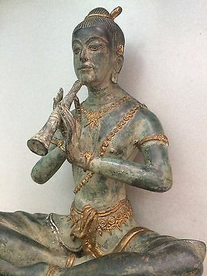 Vintage Green Gilded Bronze Buddha Sculpture Playing Flute