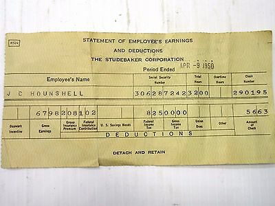 1950 Studebaker Corporation Pay Check Stub Factory Plant South Bend