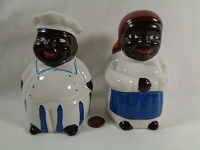 Vintage Black Americana Chef Salt and Pepper Shakers White Blue Red Box Shipped