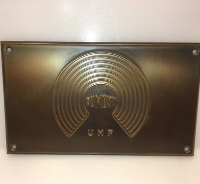 1940's Dumont UHF brass/copper ? Panel Plate Logo Graphic Vintage TV Collectible