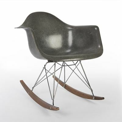 Grey 3rd Generation Zenith Vintage Original Eames RAR Rocking Arm Shell Chair