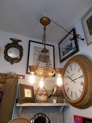 Antique Art Deco gilt 3 Edison Squirrel Cage Bulb Chandelier and Chain Works!