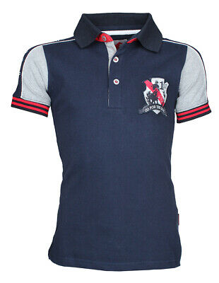 RED HORSE Boys Riding Polo Shirt - ' Bronx' - Blue
