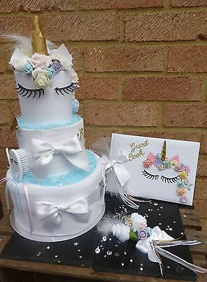 Beautiful handmade unicorn baby shower bundle.Nappy Cake, guest book, corsage