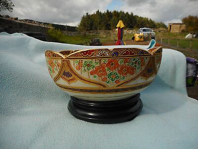 Large Japanese  Hand Painted Satsuma Bowl  Travellers Scene