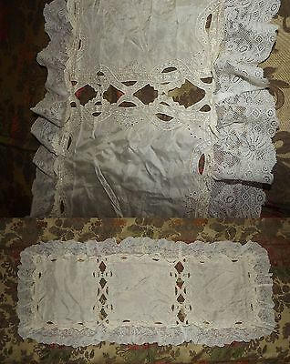 ANTIQUE VINTAGE Cream Silk Embroidered RUNNER Valenciennes Net Lace