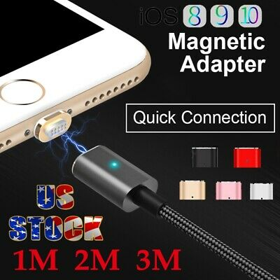 US Stock 1M-3M Magnetic Adapter Charger USB Charging Cable For iPhone 7 6 Plus 5