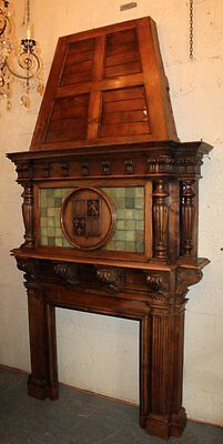 AMAZING French fireplace mantel in walnut with armory on hood,19th C. (1800s)