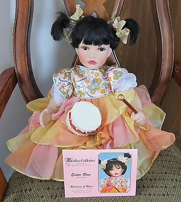 """EXOTIC ROSE Porcelain Doll by Patricia Rose COA 12"""" seated Radiance of Roses Col"""