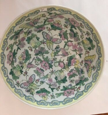 Large Asian Famille Butterfly Bowl