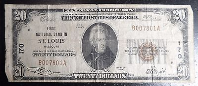 Nice 1929 T-1 St. Louis Missouri $20 National Note