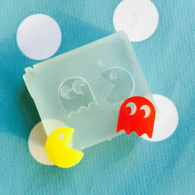 SILICONE EARRING PACMAN MOLD - Retro Resin Jewellery Earrings Stud Game Mould