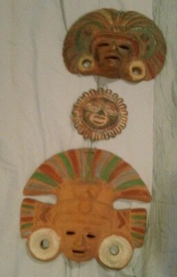 3  Mexican Ceramic Clay Pottery Hanging Wall Folk Art Mask