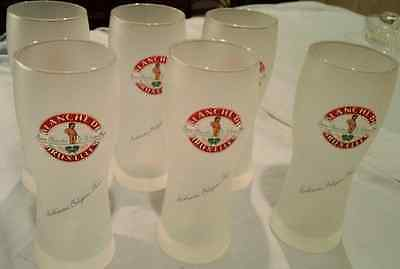 Set Of 6  Frosted Blanche De Bruxelles Belgian Beer Glasses