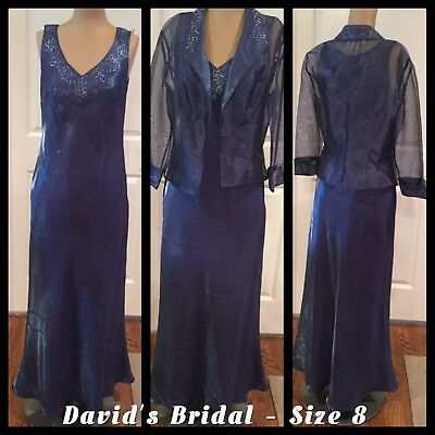 "David's Bridal Size 8 Blue ""Mother Of The Bride / Groom"" Wedding Or Cruise VGC"