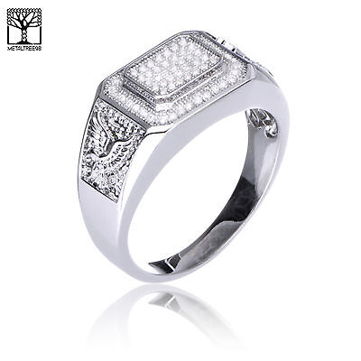 Men's Eagle Silver Plated CZ Band Rectangular Top RX Band Pinky Ring SJ 25676 S