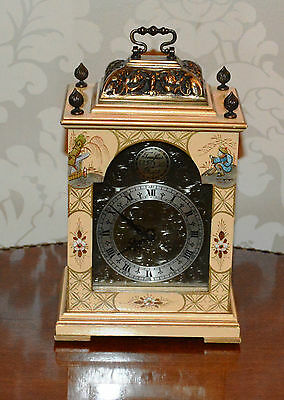 Antique Small Chinese Laquered Chinoiserie Bracket Clock Basket top - Working