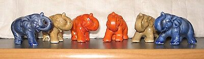 Set of 6 Vintage Ceramic Miniature Elephants Made in Japan