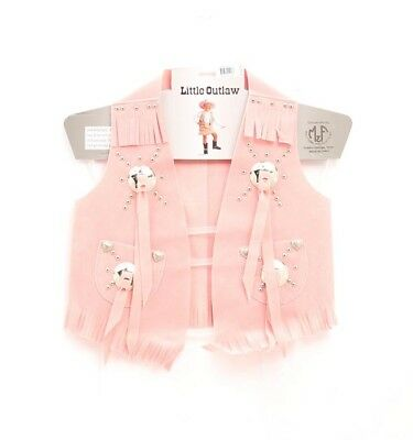 Girls' Faux Suede Cowgirl Vest - Pink - Large