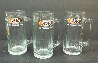 "3 Vintage A&W Rootbeer 7"" Tall Heavy Glass Mugs All American Food Logo Lot"