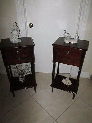 Bombay style wood end tables or nightstand    two  drawers each set of two