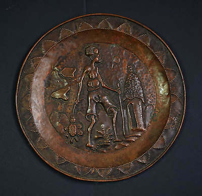 Vintage Copper Plate With Traditional Motif - Zambia - Hai