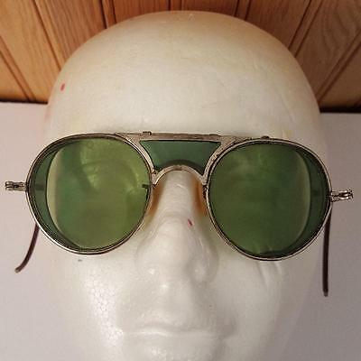 Vintage Silver Framed Green Glass Welding Goggles STEAMPUNK