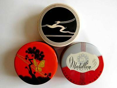 Antique Vintage Old Lot of 3 Tin LITHO Typewriter Ribbon Tins