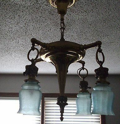 Antique Noveau Victoria Brass Ceiling  Hanging Light Lamp Fixture  Etched Shades