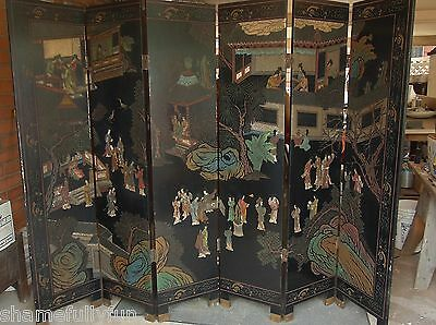 Vintage Oriental 7-Panel Room Divider Dressing Screen Black Laquer Hand Painted