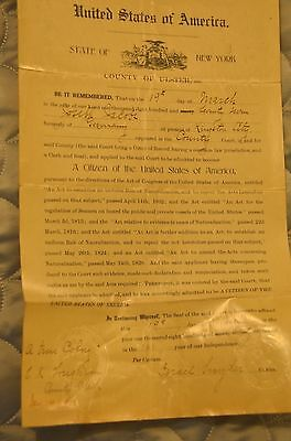 Antique Vintage 1877 !!! Original United States Certificate of Naturalization