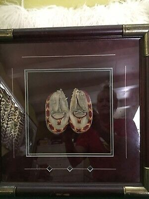 Antique Native American Leather & Beaded Moccasins FRAMED
