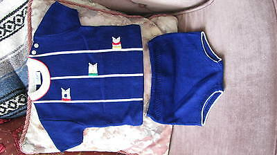 Vintage Little Angel Original Infant 2 Pc Knit Outfit Boy dark blue 18mo. Nw/oT