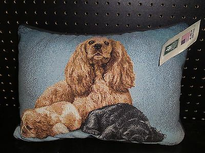 Cocker Spaniel Tapestry Pillow by Linda Pickens