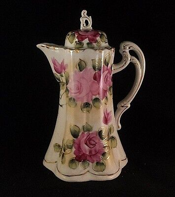 """VINTAGE HAND PAINTED ROSES CHOCOLATE COFFEE POT Made in Japan 9 1/2"""" TALL Pink"""