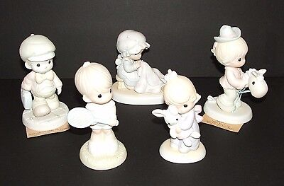 5 Precious Moments Lot Figurines Jesus Loves Me, Love Covers All, & More 70s 80s