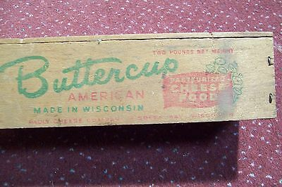 Vintage Butter cup American Cheese 2 Lb. Wooden Box Green Bay, Wisconsin