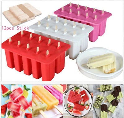 10 Cells Frozen Ice Cream Pop Mold Popsicle Maker Lolly Mould Ice Tray+12 Sticks