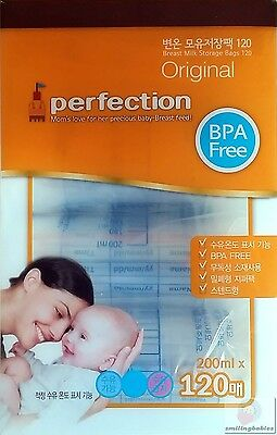 Pre-sterilised Baby Breast Milk Storage Bags Pouches 200ml breastmilk 120Pcs
