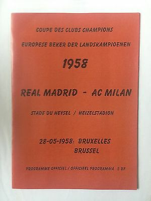1958 European Cup Final Programme  Real Madrid Vs AC Milan